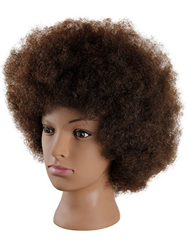 a0701fb93e143 Mannequin Head African American with 100% Human Hair Cosmetology Afro Hair  Manikin Head for Practice