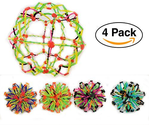 Sphere Toy Rings Stretch Expanding Ball Toys Set of 4 – Assorted Colors – Great for Party Favors