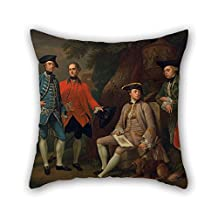 Pillow Cases Of Oil Painting Nathaniel Dance-Holland - James Grant Of Grant, John Mytton, The Hon. Thomas Robinson, And Thomas Wynne 20 X 20 Inches / 50 By 50 Cm Best Fit For Him Boy Friend Son Ki