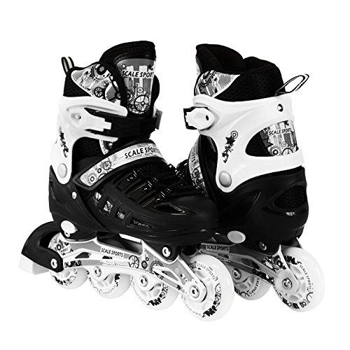 ナチュラ学習者噴出する子供用調整可能なインラインローラーブレードスケート ロングフェングSサイズ、Mサイズ、Lサイズ 安全 耐久性 アウトドア 照明付きフロントホイール付き