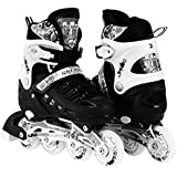 Scale Sports Kids Adjustable Inline Roller Blade Skates Small Medium Large Sizes Safe Durable Outdoor Featuring Illuminating Front Wheels 905