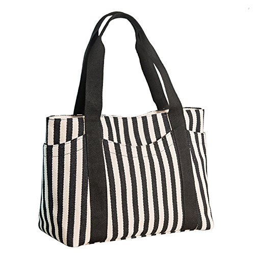 Lavogel Women's Tote Bag Striped Canvas Shoulder Bags Top Handle Beach Handbag (Black)