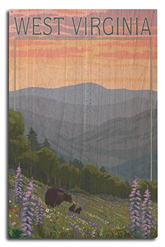 Lantern Press West Virginia - Bear and Spring Flowers (10x15 Wood Wall Sign, Wall Decor Ready to Hang)