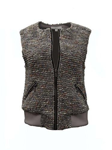 鳴らす分泌するオーバーフローDrew Womens Nubby Aria Tweed Zip Front Vest Sz Mスチールグレー230724 F