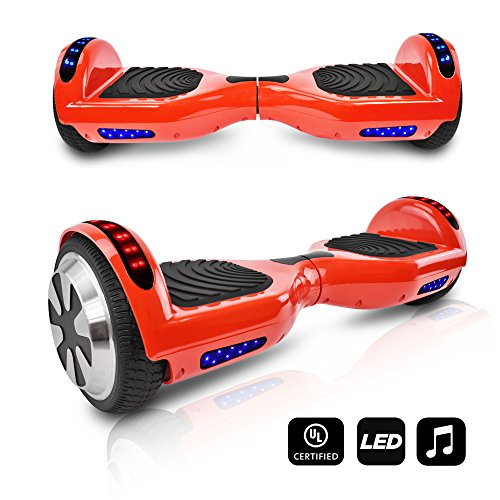 CHO Electric Self Balancing Dual Motors Scooter Hoverboard With Built-In Speaker and LED Lights - UL2272 Certified (Red)