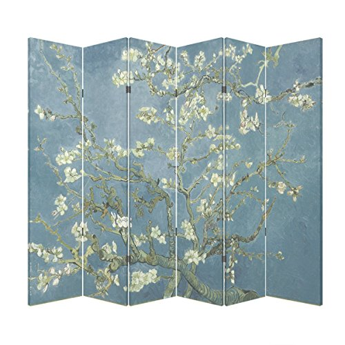7 Panel Partition (6 Panel (Blue Color) Wood Folding Screen Decorative Canvas Privacy Partition Room Divider - Vincent van Gogh's Almond Blossoms)