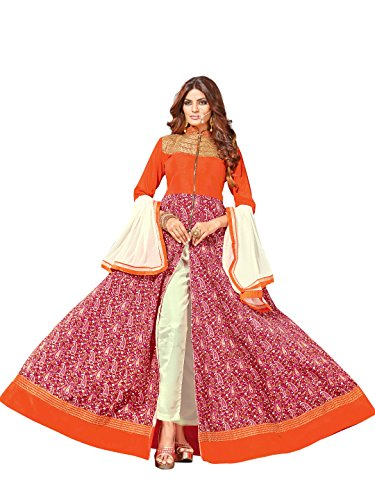 Mirchi Fashion Orange N Pink Abaya Style Art Silk Embroidery Party Wear Un-Stitched Anarkali Suit with Dupatta by Mirchi Fashion