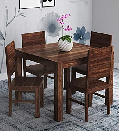 Furniture World Solid Sheesham Wood Dining Table | Dining Table Set  4 Seater, Natural Finish  Dining Room Sets