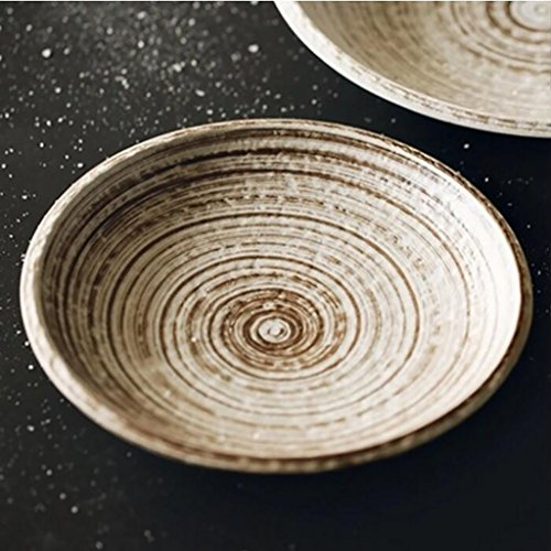 l Hand-painted coarse pottery round brown brush retro breakfast plate salad plate steak plate Western dishes Cereal bowl,Ramen bowl (Size : 26.5cm) ()