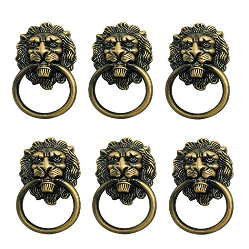 (6 Pack Lion Head Knob Pull Handle for Dresser Drawer Cabinet Jewelry Box with Drawer Ring 1.57 x 2.64 Inch Antique Door Pulls Handle Knobs(Bronze))