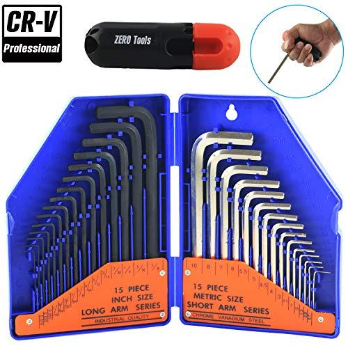 """31 PCS Allen Hex Key Wrench Set, Torque Rod, Helping T-handle, Double Color Storage Case, Inch/Metric, 31-Piece, MM (0.7 mm-10 mm) S A E (0.028""""-3/8)- Unique Tools for Men, Mechanic"""