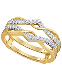 10kt Yellow Gold Womens Round Diamond Wrap Ring Guard Enhancer Wedding Band 1/4 Cttw