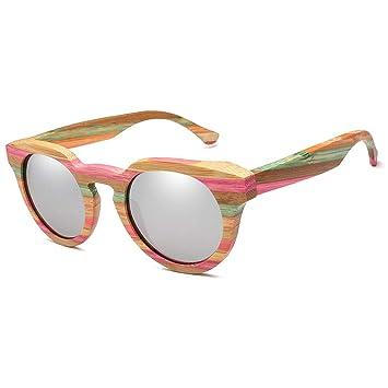 Gafas sol bambú y Madera polarizadas de Marco Redondo Retro ...