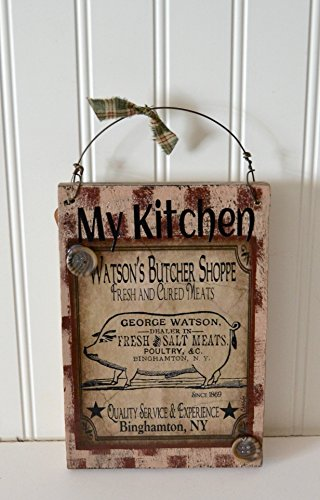 Country Rustic Wooden Sign Kitchen Butcher (Butcher Shop Ideas)