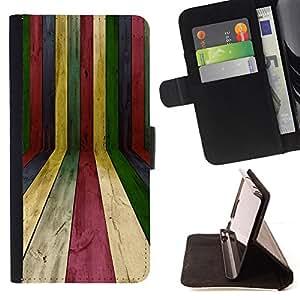 - Lines Wood Texture Rainbow Pastel Colorful - - Prima caja de la PU billetera de cuero con ranuras para tarjetas, efectivo desmontable correa para l Funny HouseFOR Samsung Galaxy S6