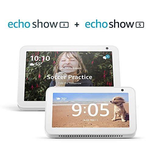 Echo Show 8 (Sandstone) with Echo Show 5 (Sandstone)