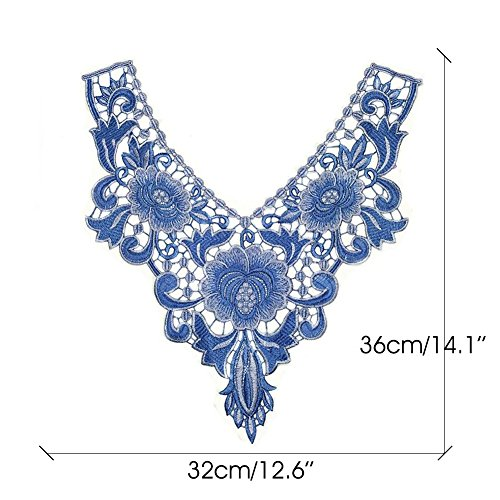DIY as Rose cuello coser bestwahl Applique Venise poliéster Rose Craft Purple ropa encaje photos Blue cuello bordado recorte escote Floral BaYH7Bx