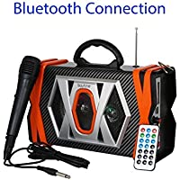 Boytone BT-36M Portable Bluetooth speaker with Microphone, FM Radio, USB Port   MP3  AUX ports, built in rechargeable Battery   Flashing DJ Lights   Remote control