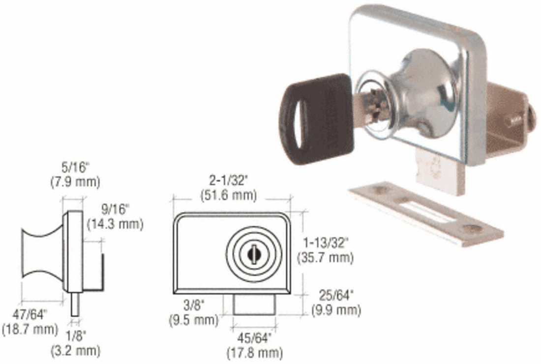 CRL Chrome Plated Lock for 3/8'' Double Glass Doors - Keyed Alike