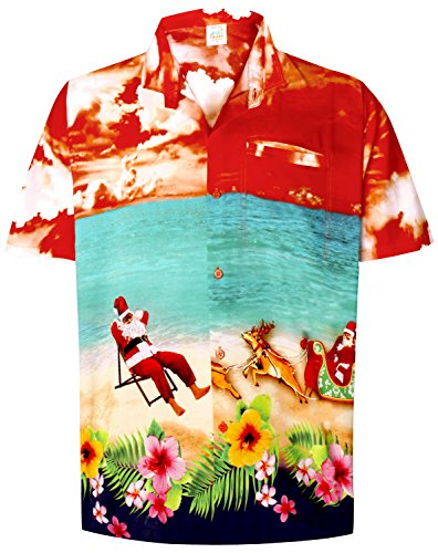 La Leela Christmas Camp print button up beach palm tree carribean casual point open collar Men's Hawaiian Shirt L Orange