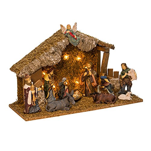 Kurt Adler Wooden Stable with 11 Resin Figures Lighted Nativity Set by Kurt Adler