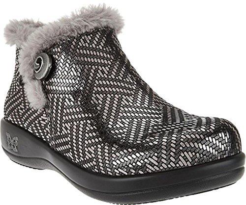 Alegria Womens Meri Synthetic Fur Rain Boot Pewter Dazzler Size 37 W EU (7-7.5 W US Women)