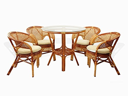 Cheap 5 Pc Pelangi Rattan Wicker Dining Set Round Table Glass Top + 4 Arm Chairs. Colonial Color