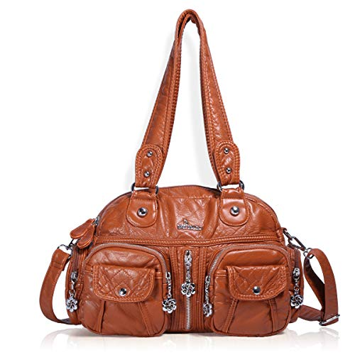 - Angel Barcelo Womens Soft Leather Top-handle Bag Handbags and Purses Casual Shoulder Bags Brown