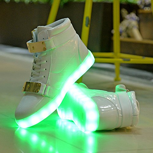 Socone Light Up High Top Ricarica Usb Led Da Donna E Da Uomo Velcro Scarpe Sneakers Bianche Lampeggianti
