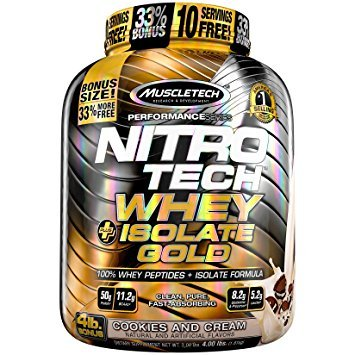 ナイトロテックホエイ+アイソレートゴールド 1.8kg (NITRO-TECH Whey Plus Isolate Gold 4 Lbs.) (バニラビーン) B07BQKWCN7 バニラビーン