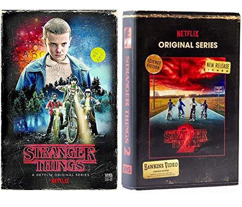 (Two Strange Things Exclusive Sci-Fi Exclusive Set DVD & Blu Ray VHS Box Stranger Things Season 1 / Season 2 Upside Down Netflix series)