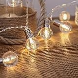 Bulb String Lights, VSOAIR 1.3M 10 LED Plastic Globe Fairy String Lights Clear Bulb Outdoor Indoor Lights Warm White