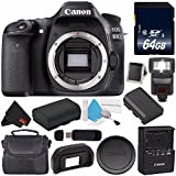 Canon EOS 80D DSLR Camera (Body Only) 1263C004 (International Version) + 64GB SDXC Class 10 Memory Card + LP-E17 Replacement Lithium Ion Battery + External Flash + Carrying Case Bundle
