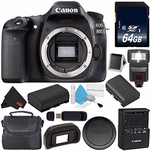 Canon EOS 80D DSLR Camera (Body Only) 1263C004 (International Version) + 64GB SDXC Class 10 Memory Card + LP-E17 Replacement Lithium Ion Battery + External Flash + Carrying Case Bundle by 6Ave