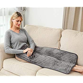 Ambershine XXXL King Size Heating Pad with Fast-Heating Technology&6 Temperature Settings, Microplush Fibers Electric Heating Pad/Pain Relief for Back/Neck/Shoulders/Abdomen/Legs 45cmx85cm (Dark Gray)