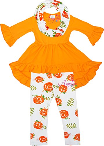 18 Orange Roses (Angeline Boutique Clothing Girls Spring Rose Hi-Low Tunic Legging Scarf Orange/Rose 18-24/XXS)