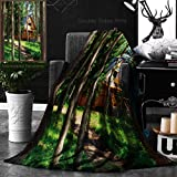 Ralahome Unique Custom Double Sides Print Flannel Blankets Photo Of A Rustic House On The Woods Super Soft Blanketry for Bed Couch, Throw Blanket 50 x 70 Inches