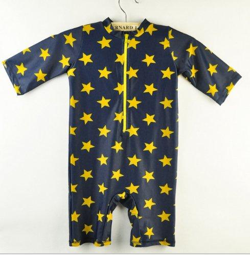 超可愛い子供服水着帽子付き2点セット子供男児水着ラッシュガード男の子キッズ水着星柄キッズmall-online(115-120cm)
