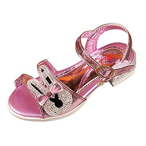Mädchen Sandalen mit Bowknot Hase Perlenkristall Lauflernschuhe Prinzessin Schuhe Halbsandalen Soft Sole Single Sneaker Strand Sandalen (12-13T, Rose) Rose