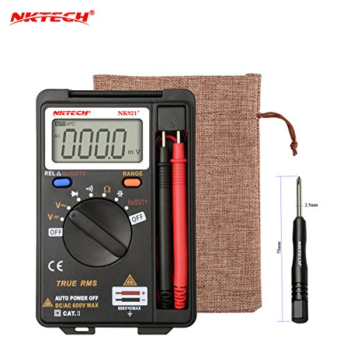 NKTECH NK921+ Pocket Digital Multimeter Voltmeter Mini Ammeter DMM True RMS Auto Range Meter 3999 Count AC DC Voltage Capacitance Resistance Diode Continuity Test VC921 Upgrade Version by NKTECH