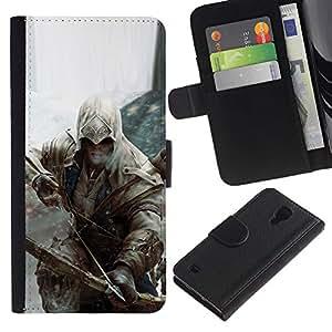 NEECELL GIFT forCITY // Billetera de cuero Caso Cubierta de protección Carcasa / Leather Wallet Case for Samsung Galaxy S4 IV I9500 // Bow Assassin