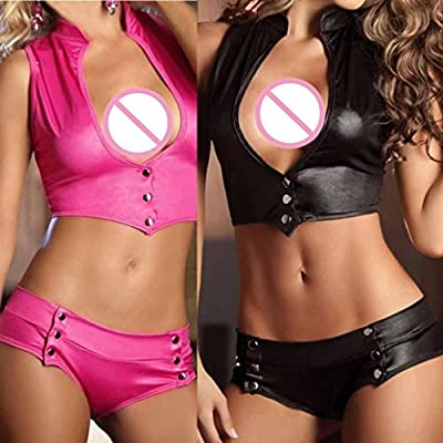 Easytoy Women 2 Piece Set Sexy Bandage Clubwear Stripper Patent Leather Underwear