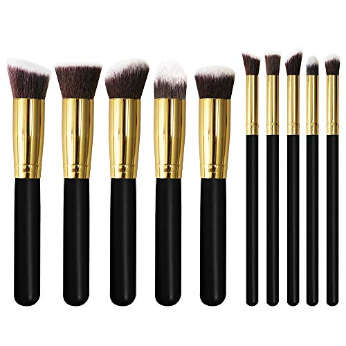 Pro Face and Eye Makeup Brushes Set Professional Premium Synthetic Kabuki/Blush/Contour/Powder/Conceal/Foundation/Eyeshadow Cosmetics Brush Kit Case - Golden Black(10pcs) - by U'COVER - Christmas ()