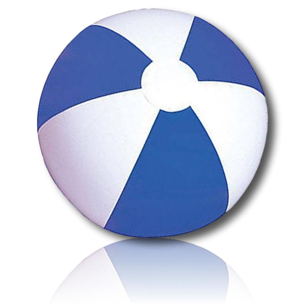 ULTRA Durable & Custom {12'' Inch} 24 Bulk Pack of Mid-Size Inflatable Beach Balls for Summer Fun, Made of Lightweight FLEX-Resin Plastic w/ Classic Alternating Umbrella Stripes Style {Blue & White}