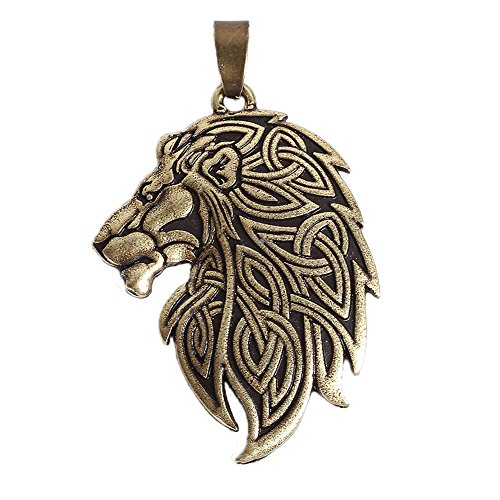 (QIANJI Cletic Lion Head Pendant Necklace Jewelry Antique Silver)