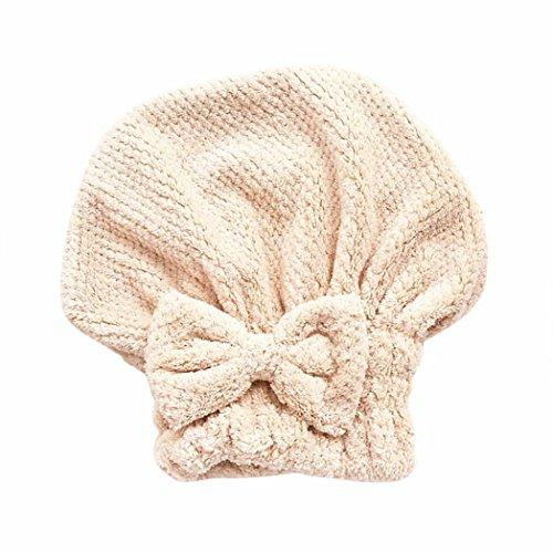 Skins Side Bed Cap - LiPing Microfiber Shower Caps Elastic Bathing Hair Cap Lady/Girl Salon Hat Quickly Dry Hair Towel Bathing Cap (Khaki)