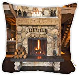 """Rikki Knight Rustic Fireplace Design 18"""" Square Microfiber Throw Decorative Pillow with DOUBLE SIDED PRINT (Insert Included)"""