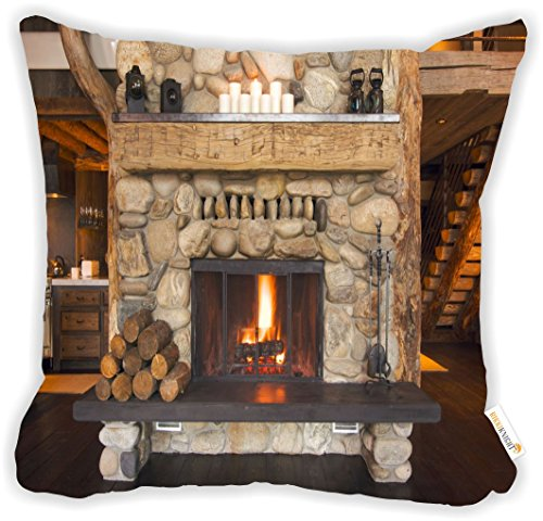 Rikki Knight Rustic Fireplace Microfiber Throw Décor Pillow