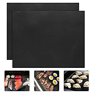 "2 Piece of (15.75""x 13"") BBQ Grill Mat-Nonstick, Reusable and Dishwasher Safe FARSIC"