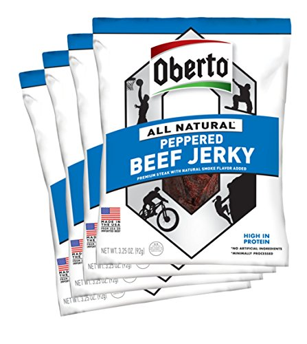 (Oberto All-Natural Peppered Beef Jerky, 3.25 Ounce (Pack of 4))